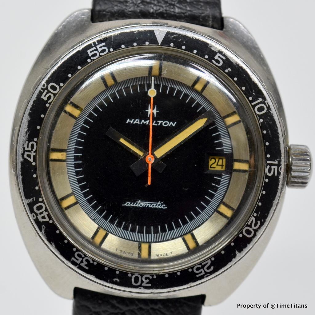 Hamilton ref 64065 3 vintage 42mm diver pan europ case for Hamilton dive watch